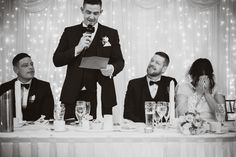 Gorgeous Black and White Wedding Photography of the best man's funny speech at Amanda and Ashley's wedding. Photography by Alex Zarodov Photography Wedding Gallery, Wedding Blog, Wedding Planner, Civil Ceremony, Wedding Ceremony, Funny Speeches, Bride Speech, Wedding Brochure, Best Wedding Venues