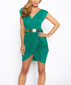 Take a look at the Green Belted Surplice Dress on #zulily today!