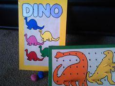 dinosaur color and peg board, with dinosaur eggs