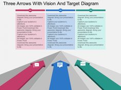 3D Arrows for vision, mission, target slide