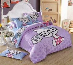 Hello Kitty Bedroom Sets Girls pure white bedroom with brown hello kitty bed decor plus laminate