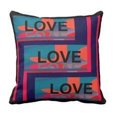 LOVE Pillow -Home  -Red/Orange/Purple/Blue/Coral - individual customized unique ideas designs custom gift ideas