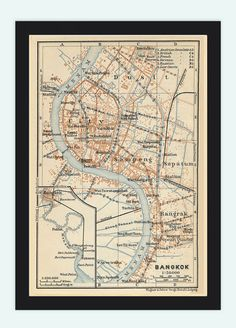 Old Map of Bangkok 1914 Thailand by OldCityPrints on Etsy, $25.00