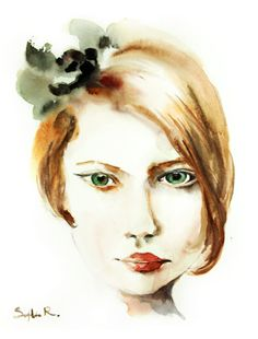 Woman Portrait Art Print 9x12 from Original Watercolor Painting Beauty Fashion Illustration #etsy #painting