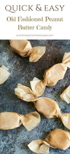This homemade candy recipe is for peanut butter lovers. Simple old fashioned peanut butter candy. Easy peanut butter candy recipe. Gluten free, vegan candy recipe. via @grandmasgfree