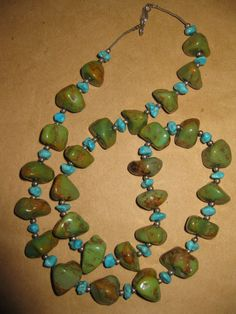 Vintage Bead Turquoise Nugget Necklace