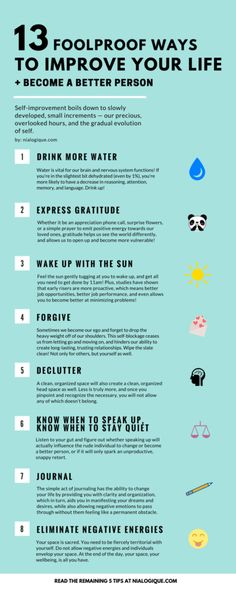 Love this simple list. All of these are applicable on how to become a better in anything. 13 Foolproof Ways to Improve Your Life + Become a Better Person Infographic, Self-Improvement, Health: Be A Better Person, Better Life, Better Person Quotes, Good Person, Feel Better, Motivacional Quotes, Smart Quotes, Work Quotes, Life Quotes