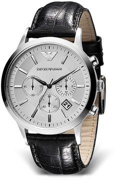 154c251791db Emporio Armani Round Chronograph Watch with Black Strap