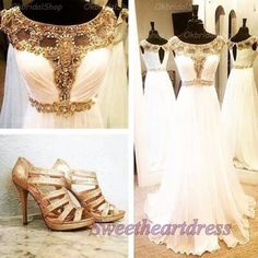 Prom dresses long, homecoming dress, pretty beaded white chiffon evening dress for teens #coniefox #2016prom