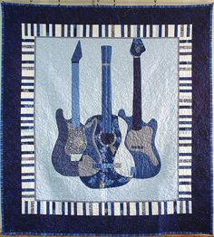 Guitar - Rock Star - Applique Design - AppliqueDownload.com