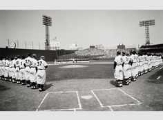 "Obnoxious Boston Fan @realOBF   Plenty of white on that field. ""@mfaboston: Opening day 1957. #LetsGoRedSox"