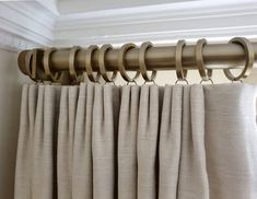 Dont know about you but were noticing a lot of lovely soft neutrals coming through. this is our Simple pole in a gold finish teamed with soft creams. Luxury Curtains, Gold Curtains, Pleated Curtains, Custom Curtains, Metal Curtain Pole, Curtain Poles, Classic Window, Curtain Headings, Drapery Designs