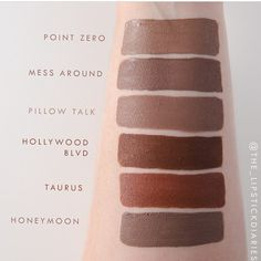 Colourpop Point Zero comparisons by @the_lipstickdiaries  thank you so much for these swatches!  Honeymoon is the only one that isnt by CP, it's by NYX