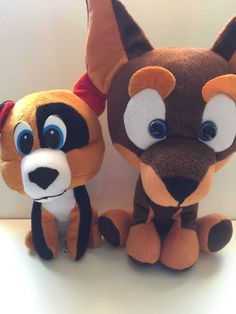Lot of 2 Classic toy Company Fox dog Orange Brown Black plush stuffed animal toy