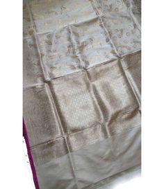 Off White Banarasi Handloom Katan Silk Saree