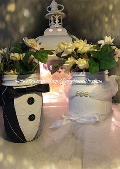 A personal favorite from my Etsy shop https://www.etsy.com/listing/449349268/his-and-hers-decor-mason-jar-set-wedding