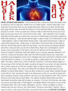Heart Attack and Water. Info that may save your life
