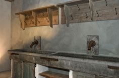 Double Stone Sink Home Suites, Garage Bedroom, Belgian Style, Stone Sink, Wall Boxes, Home Workshop, Rustic Outdoor, Minimalist Living, Industrial Chic