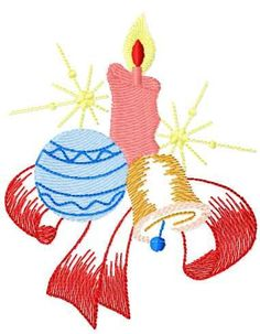 Christmas candle and bell free embroidery design - Christmas free embroidery - Machine embroidery community