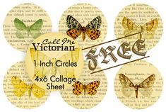 Butterfly 1 inch circles digital collage sheet FREE printable!