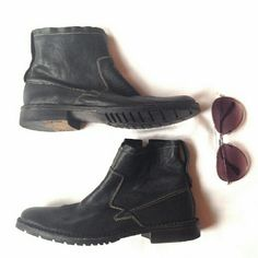 4th of July 24 hr. SALE ankle boots John Varvatos Soft, sturdy leather w/zipper and snap on the side. Men's size 7 or Women's size 9. Can be unisex. John Varvatos Shoes Combat & Moto Boots