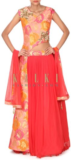 Buy this Coral lehenga with long fancy blouse in sequin embroidery only on Kalki