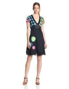 Desigual - Vestito, manica corta, donna, Blu (Blau (Marino)), 42 IT (M) (38 DE) -