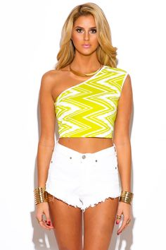 ONE WAY LOVE   lime green chevron print one shoulder fitted party crop top - 1015store.com