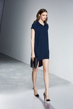 Navy asymmetrical dress at iROO
