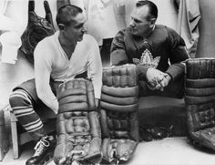 Johnny Bower (right) next to Terry Sawchuk. They were the goal tending duo that lead the Toronto Maple Leafs to their last Stanley Cup win in I was fifteen! Hockey Goalie, Hockey Players, Hockey Boards, Goalie Mask, Nhl News, Toronto Star, Red Wings Hockey, Toronto Maple Leafs, Detroit Red Wings