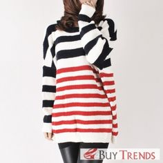 Women's Elegance Loose Striped Pullover Sweater on BuyTrends.com, only price $24.92