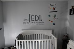 "Haha! Now, that's how you decorate a kid's bedroom! ""I am a Jedi, like my father before me."""