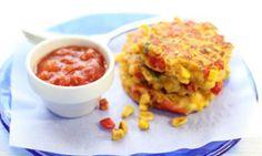 Sweet corn fritters with tomato relish - Kidspot