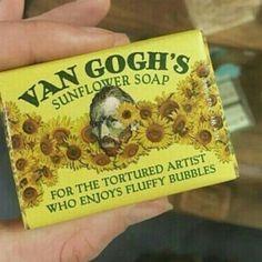 Vincent Van Gogh sunflower soap for the tortured artist who enjoys fluffy bubbles.