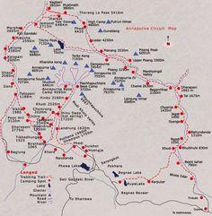 Trekking Himalayas  Annapurna Conservation Area (ACAP) trekking route map.