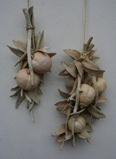 Sculpted ceramic branch with three peaches. Rustic, earthy, natural, neutral