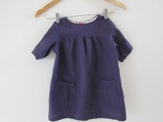purple linen dress by nested in stitches