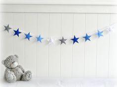 Items similar to Star garland - felt star banner - Blue, gray and white - Nursery decor - birthday decor - party decor - MADE TO ORDER on Etsy Star Themed Nursery, Nursery Themes, Nursery Room, Nursery Decor, Garland Nursery, Bedroom, Star Banner, Star Garland, Felt Garland