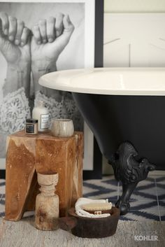 A handcrafted freestanding bath with claw feet adds a vintage flair and craftsmanship to the space. Loft Bathroom, Bathroom Goals, White Bathroom, Bathrooms, Shower Fixtures, Black Shower, Clawfoot Bathtub, Freestanding Bath, Bathtubs