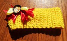 Earwarmer headband, She-ra, Princess of Power, Boutique Hair bow, Crochet yellow handmade, crochet headband, crochet earwarmer