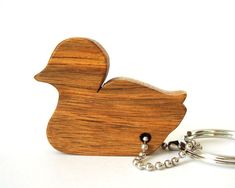 Duck Silhouette Key Chain Simple Outline Wood Scroll Saw Outline Keychain Persimmon