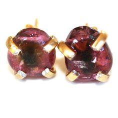 Rubellite Watermelon Tourmaline Pebble Earrings Dark Pink Tourmaline Studs Tourmaline Jewelry Stud Earrings Gemstone Earrings FizzCandy by FizzCandy on Etsy