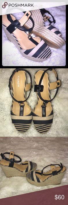 Coach Espadrille Wedge Sandal Navy & Natural Coach Espadrille Wedge Sandal Navy & Natural - Classic colors & style. Nautical inspired. Navy Blue & Natural with Silver Coach hardware. Gently used. Coach Shoes Espadrilles