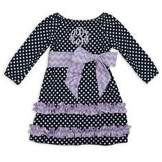 Navy Dot Lavender Chevron Squinchy Sash Dress