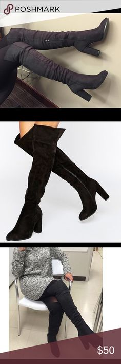 ASOS over the Knee Daisy Street Boots. Black Suede over the knee Suede boots.             USA size 6. Only worn once. Box included. ASOS Shoes Heeled Boots