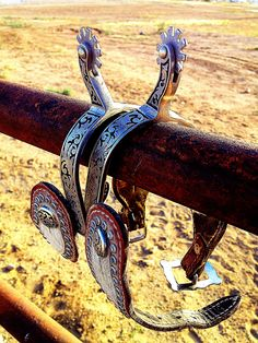 """There was all kinds of spurs back then. The """"mean"""" ones, for breaking horses, were like nails. This pair would be used on a horse well trained and responsive to gentle spurs. Spurs Western, Cowboy Spurs, Cowboy Gear, Cowboy Horse, Cowboy And Cowgirl, Western Art, Cowboy Boots, Broken Horses, Horse Gear"""