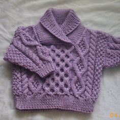 Aran sweater with cross-over collar for babies or toddlers - PDF knitting pattern. $5.00, via Etsy.