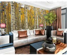 Papier peint bouleau forêt paysage murale papier peint peinture murale mur papier papel de parede stickers muraux wallpaper20151232 cuisine(China (Mainland))
