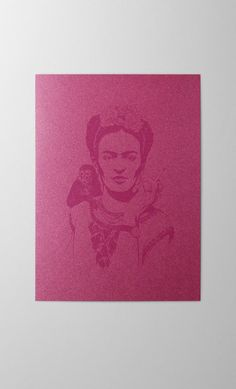 Frida Kahlo screen printed greeting card  artist portrait Print Finishes, Letterpress, Screen Printing, Burgundy, Greeting Cards, Stamp, Portrait, Printed, Artist