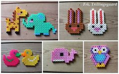 Hama / Perler bead or cross stitch designs - animals to make - jewelry, charms, keyrings, cards...